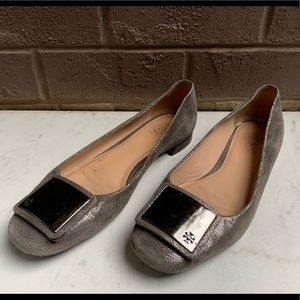 Tory Burch Champagne and Silver Flats Size 8.5